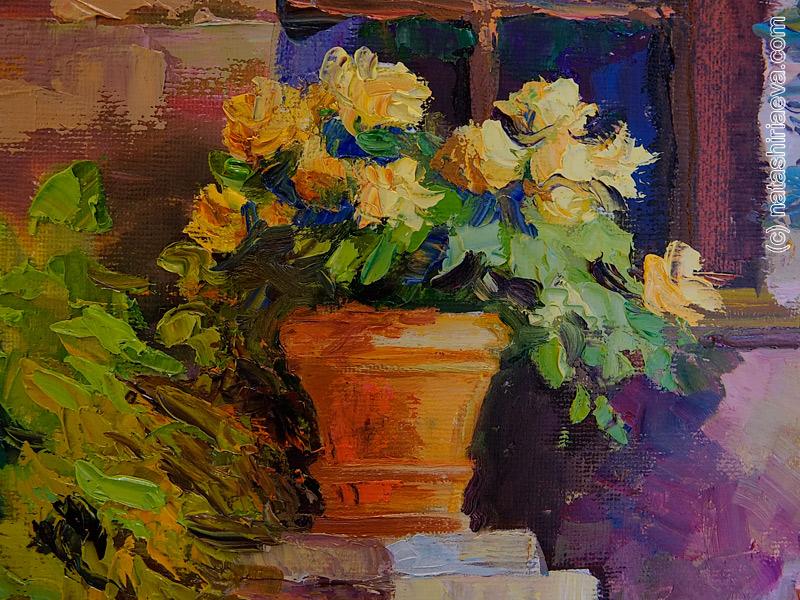 желтые розы масло холст