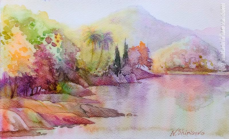 горное озеро акварель