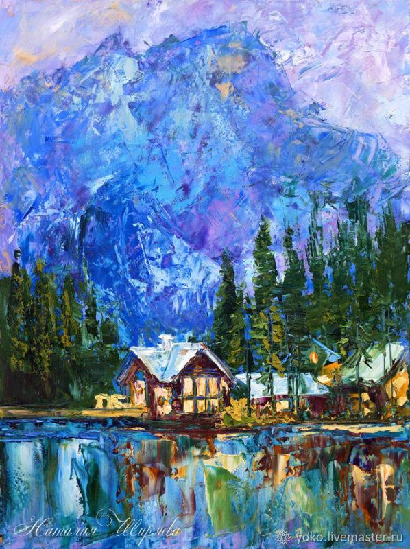 """Картина с домиком в горах """"Домик в Альпах"""" художник Наталия Ширяева"""