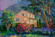 картина маслом дом горы