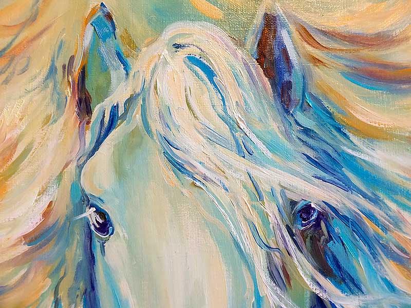 Фрагмент картины с лошадью