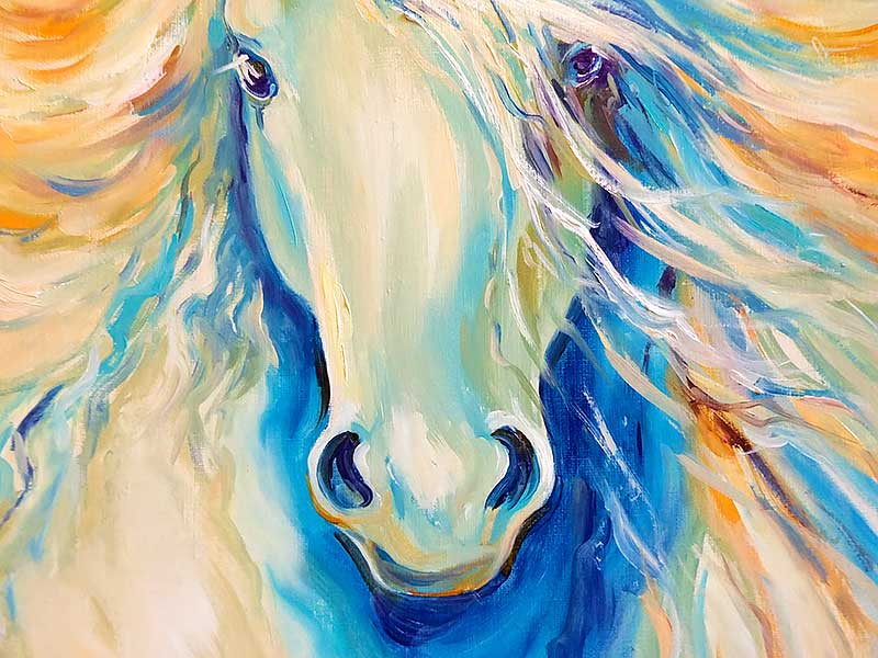 Фрагмент картины с головой лошади