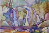 водопад акварель