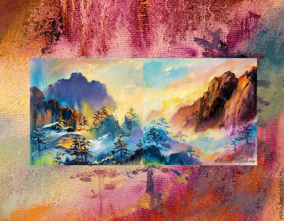 """Диптих """"Закат в Альпах"""" - авторская картина маслом с домиками в горах"""