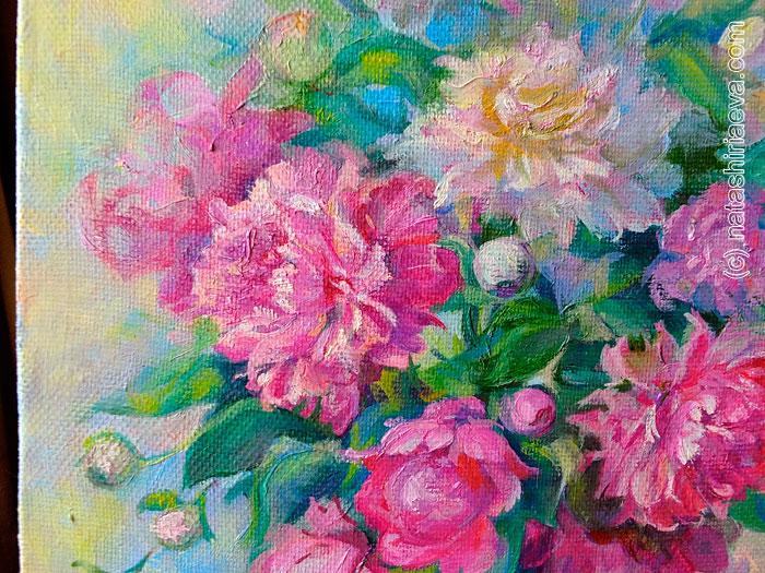 Картина с цветами - пионы
