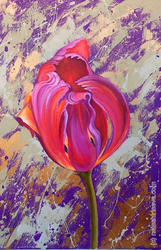 Картина для интерьера - цветок тюльпан