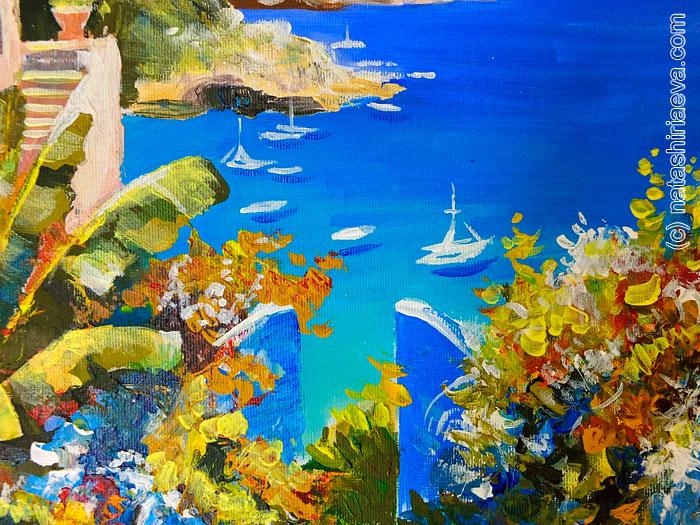 Картина - средиземное море и яхты