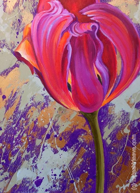 Картина в подарок - тюльпан