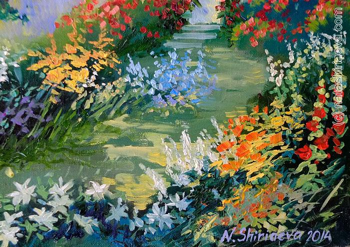 Картина с цветами и садом
