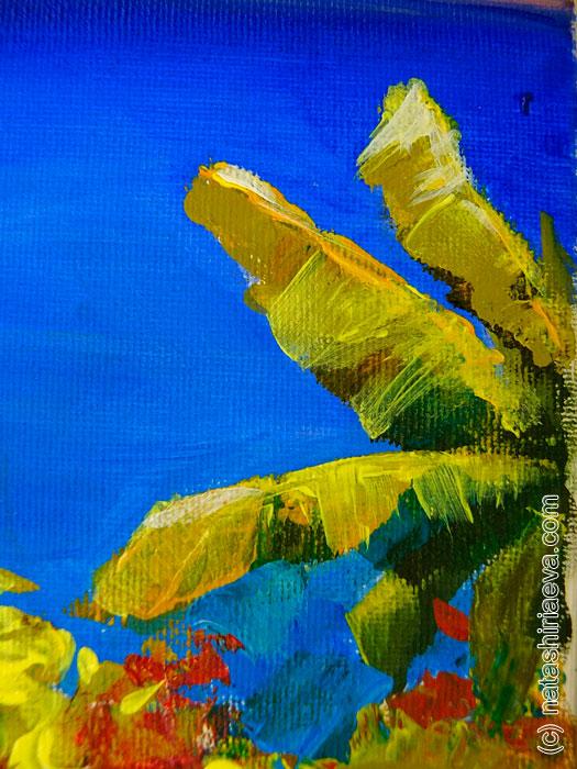 Фрагмент картины - листья банана