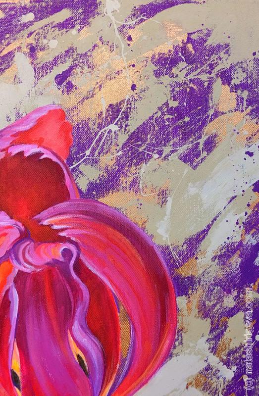 Картина акриловыми красками - цветок тюльпан