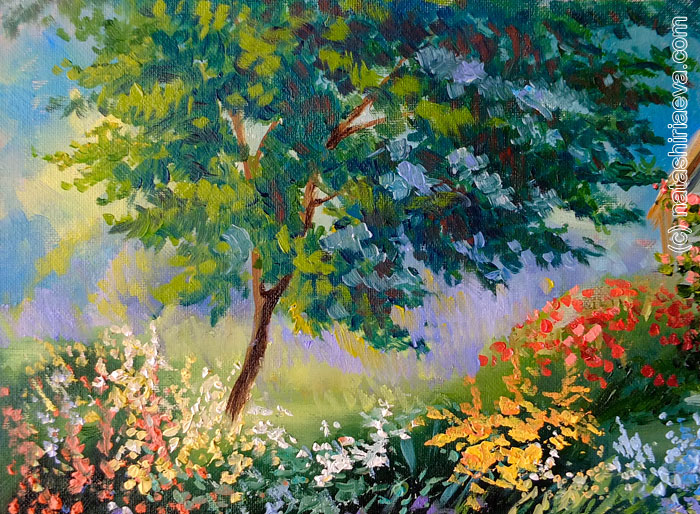 Картина маслом - сад с цветами