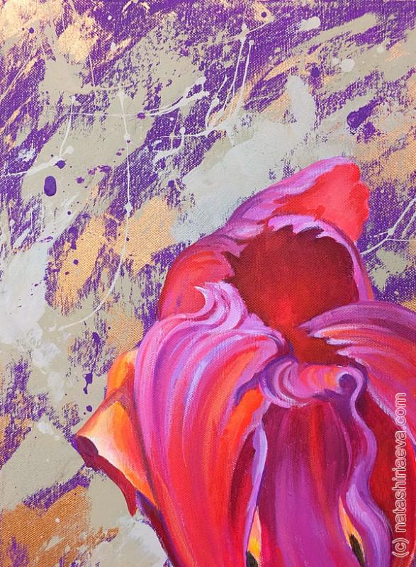 Картина на день рождения - цветок тюльпан