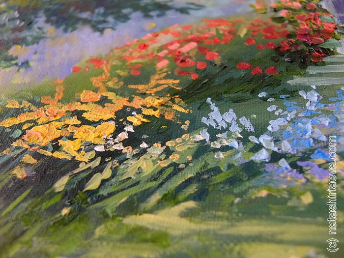 Картина маслом - лепестки цветов