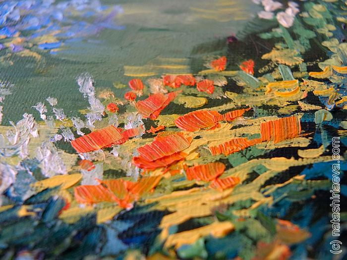 Картина маслом - лепестки цветов 2