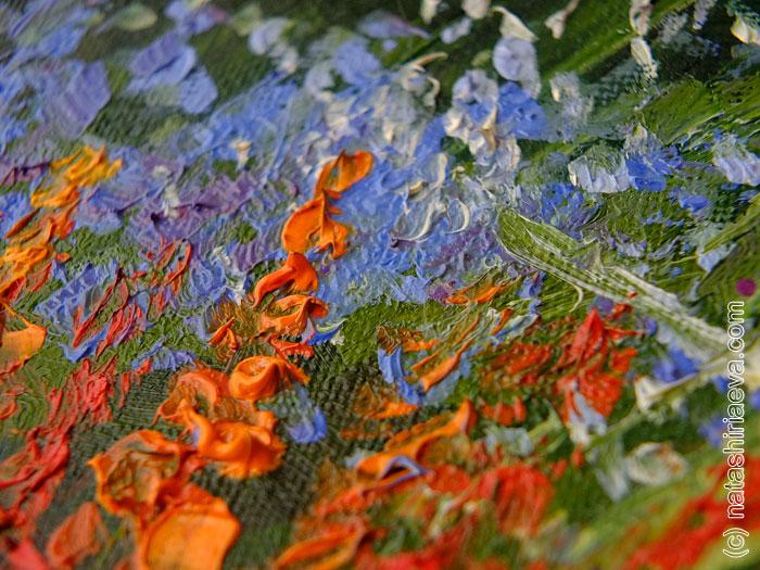 Картина маслом - лепестки цветов 3