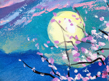 Фрагмент картины - Луна и сакура