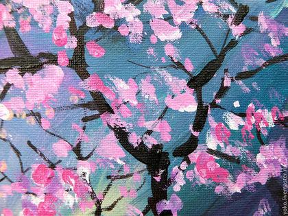 Фрагмент картины - цветущая сакура