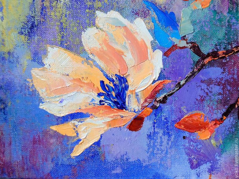 Картина с цветущей магнолией