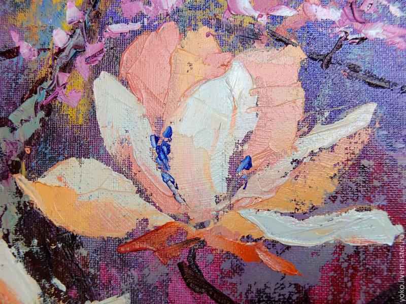 Цветок магнолии маслом на холсте