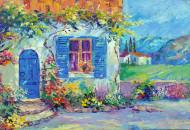 Средиземноморский дворик картина маслом
