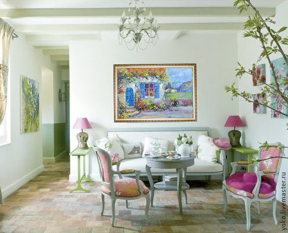 Средиземноморский дворик картина маслом 5