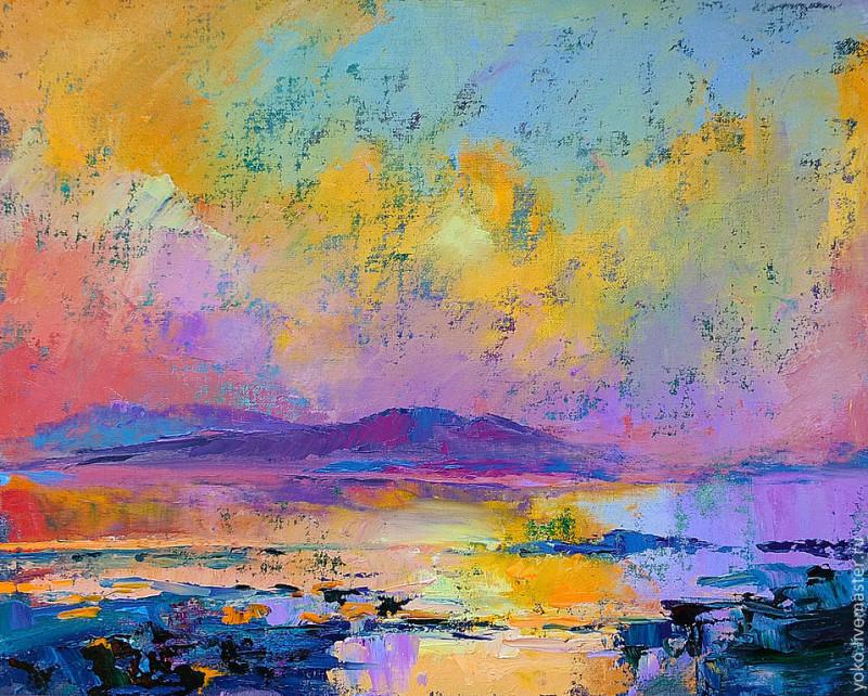 Слияние - картина маслом (горы и озеро) 1