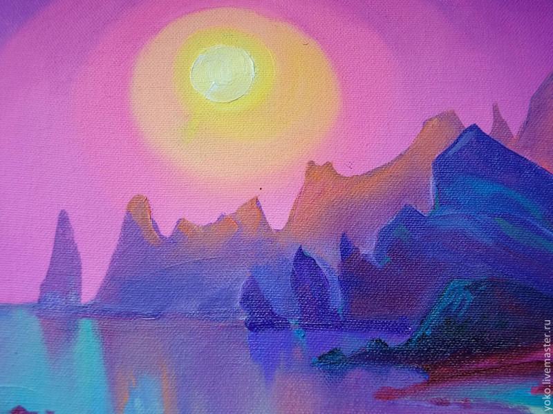 Ночь в заливе Вайолетт - картина маслом 4
