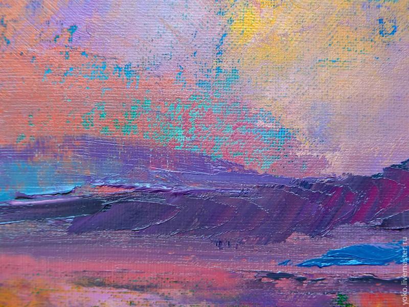Слияние - картина маслом (горы и озеро) 3