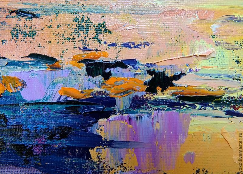 Слияние - картина маслом (горы и озеро) 5
