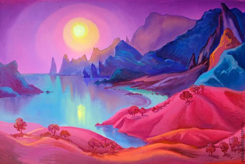 Ночь в заливе Вайолетт - картина маслом