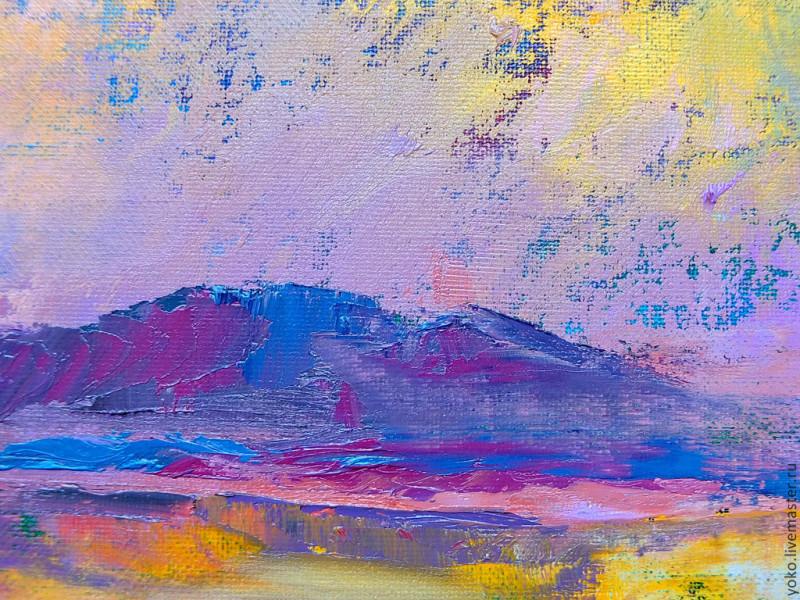 Слияние - картина маслом (горы и озеро) 6
