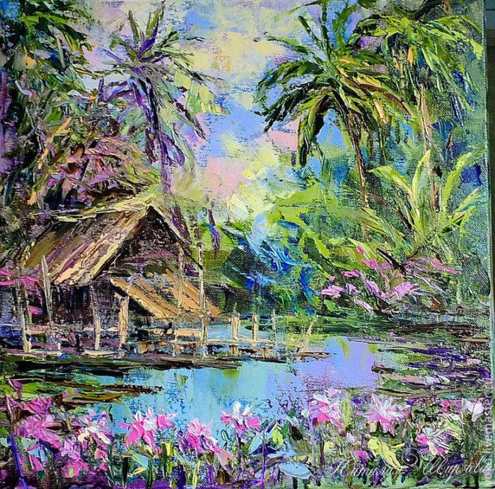 """Картина """"Северный Таиланд. Пруд с лотосами"""""""