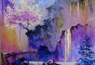 Картина с водопадом - Ночь Цветения