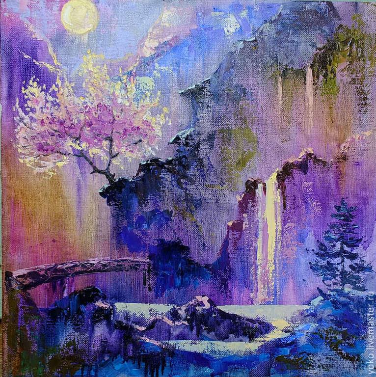 Ночь Цветения - картина с водопадом
