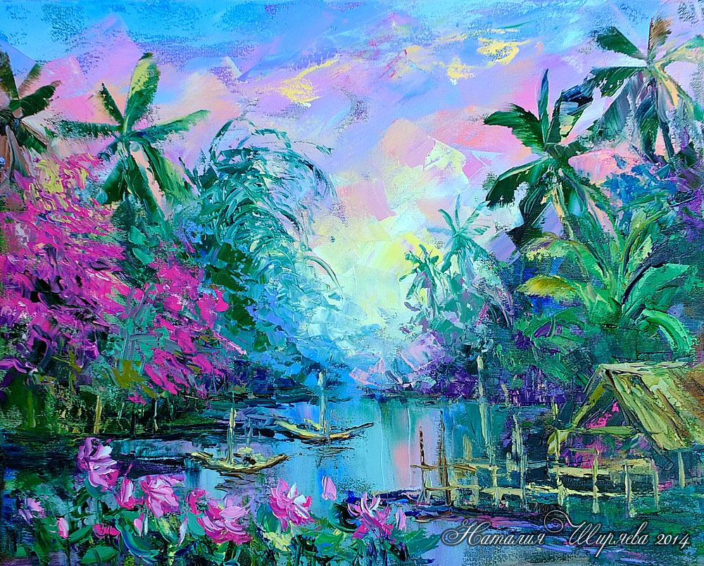 """Картина маслом """"Северный Таиланд. На реке Ping"""" (тропики и пальмы)"""