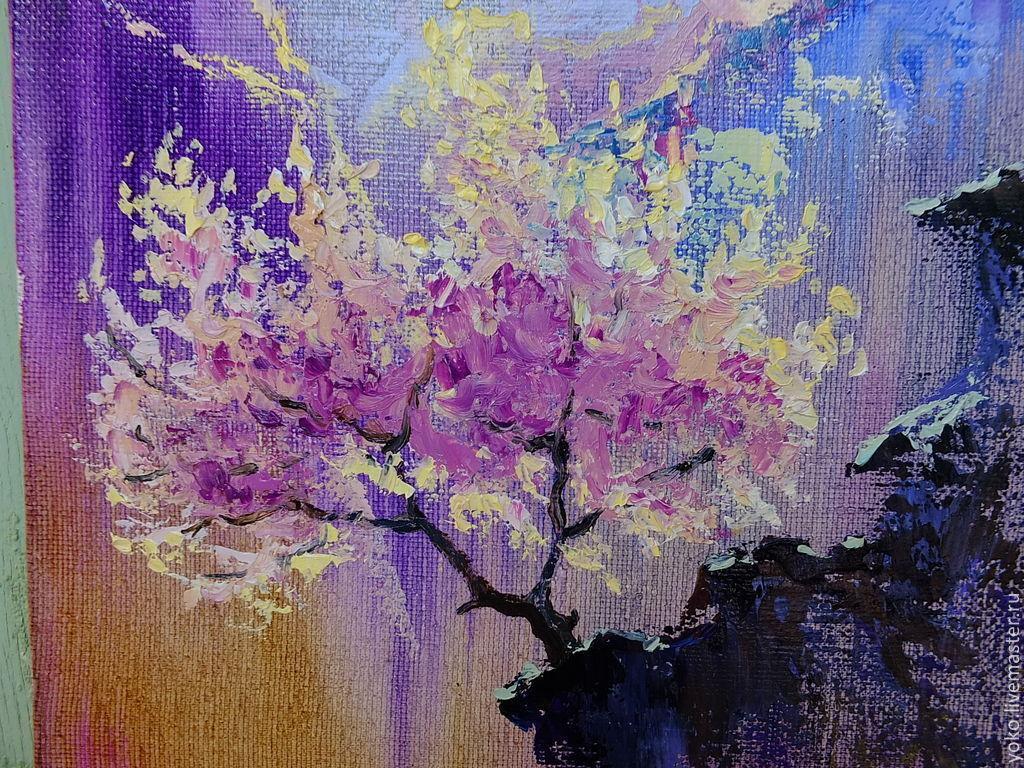 Фрагмент картины - сакура и горы