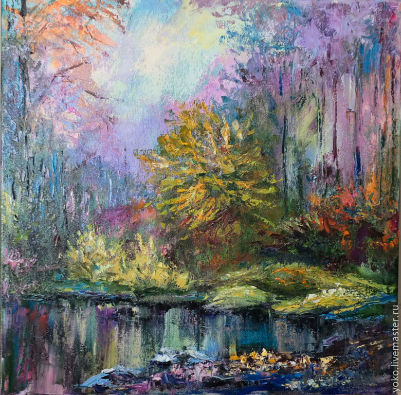 Картина с пейзажем леса