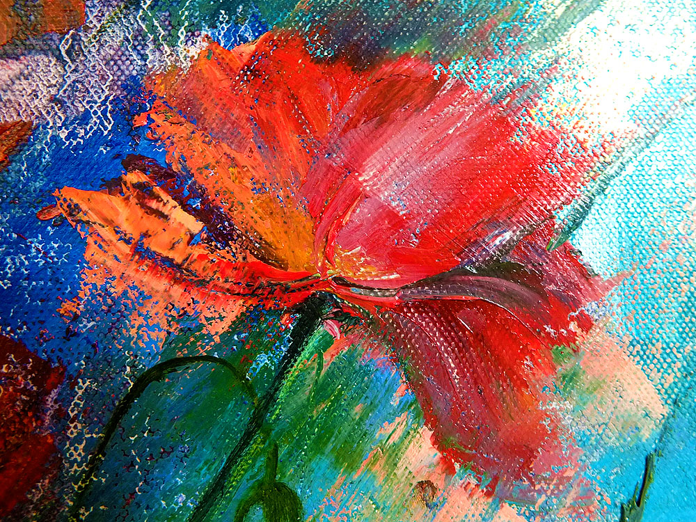 Картина маслом - цветы маки