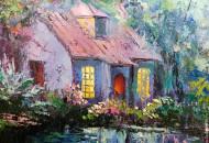 Загадочная картина с домиком и единорогом