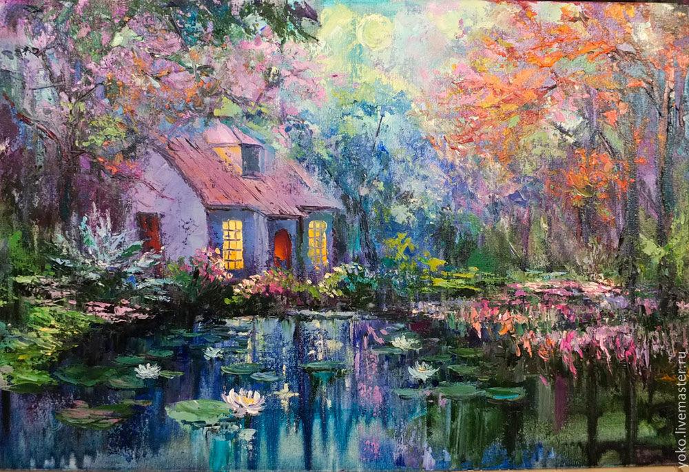 Картина с домиком в лесу