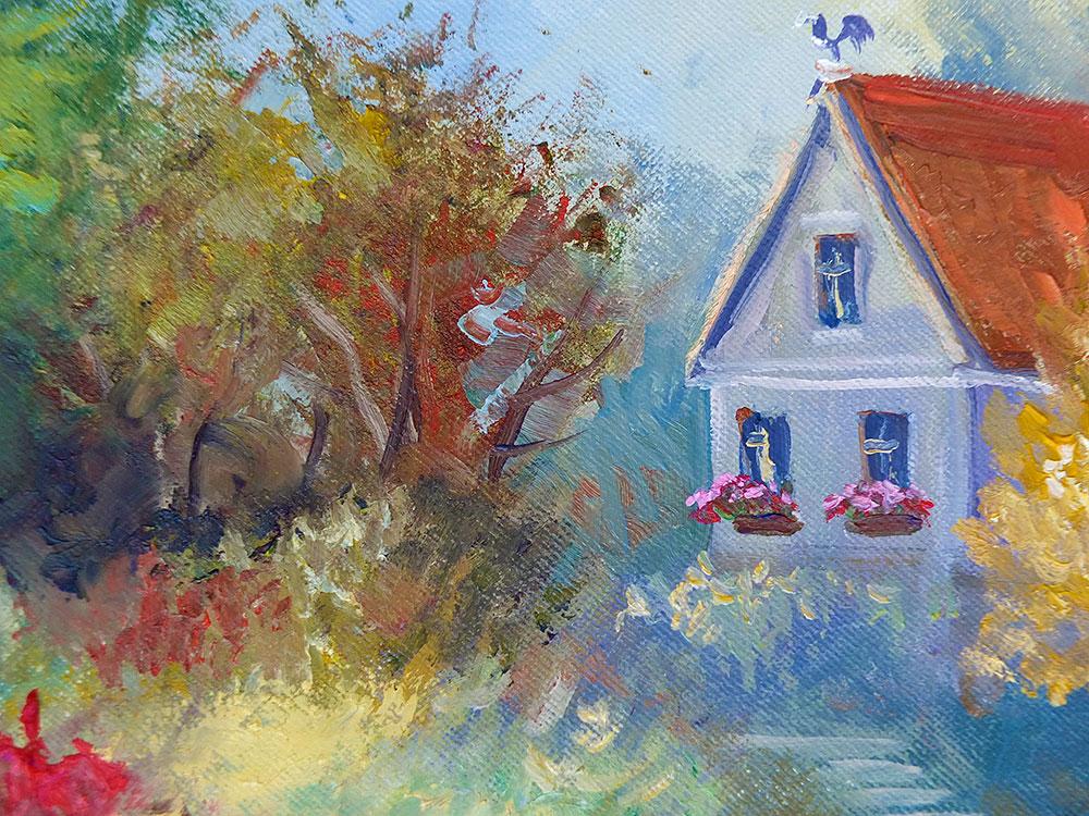 Яркая картина маслом с цветущим садом и домиком