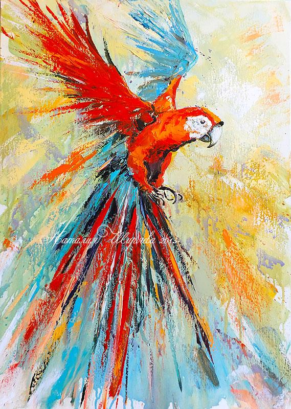 """Картина с попугаем """"Летящий в Ореоле Света"""""""