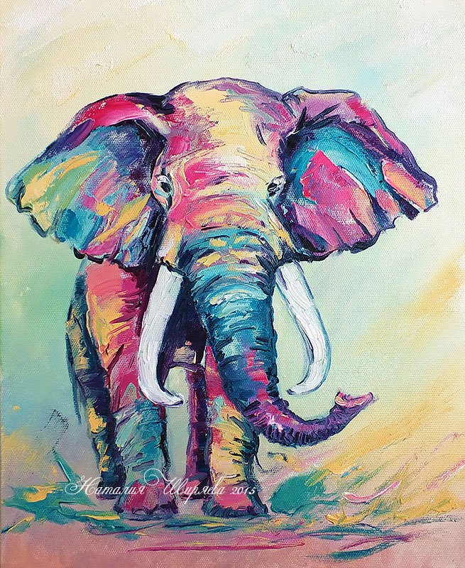 Рисунки красками слона