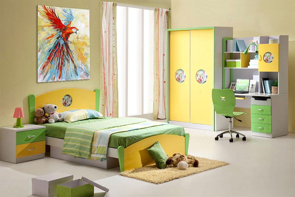 Картина с попугаем в интерьере детской