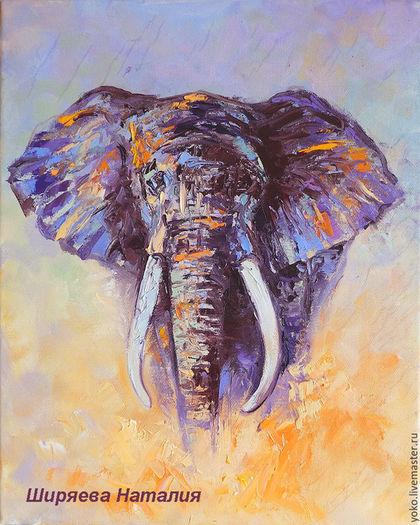 """Картина со слоном """"Лицом к Лицу"""" художник Наталия Ширяева"""