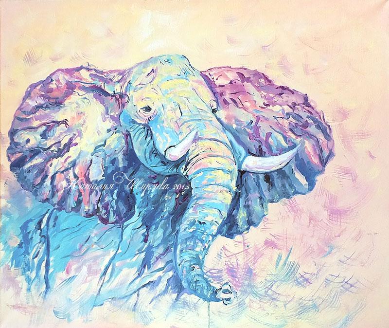 """Картина со слоном """"Энергия Движения"""" вариант 2"""