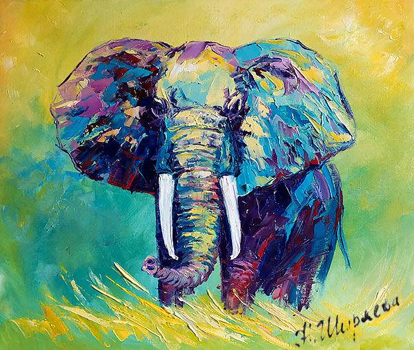 "Картина со слоном ""В Жаркой Жаркой Африке"""