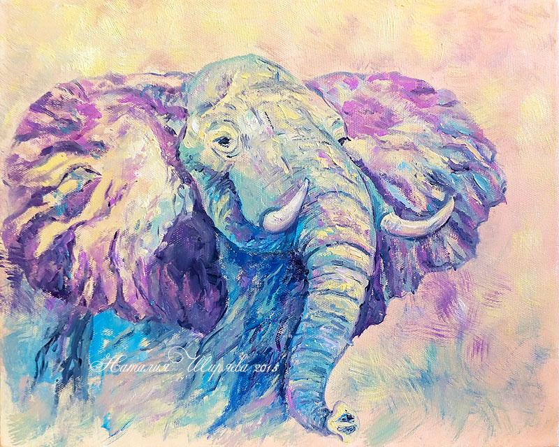 """Картина со слоном """"Энергия Движения"""""""