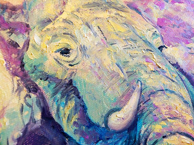Фрагмент картины - голова слона